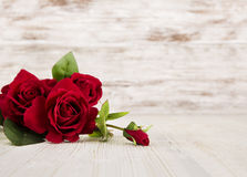 Rose flowers, red on wooden grunge background, floral card Stock Image