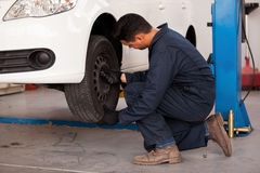 Rotating tires at an auto shop Stock Photo