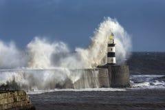 Rough Sea - Seaham Lighthouse - England Stock Photography