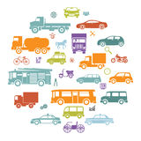 Round Card with Retro Flat Cars and Vehicles Silhouette Icons Transport Symbols   Stock Image