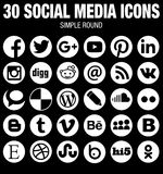 Round social media icons collection white Stock Photos