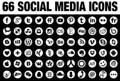 66 Round Social Media Icons white Stock Photos