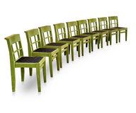 Row of green chairs Stock Photography