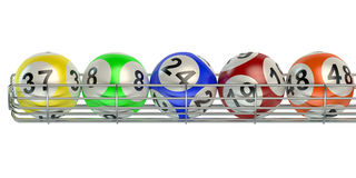 Row from lottery balls Stock Image