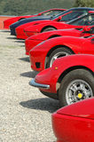 A row of red Ferraris Royalty Free Stock Images