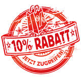 Rubber stamp 10% off and shopping bag Royalty Free Stock Photography