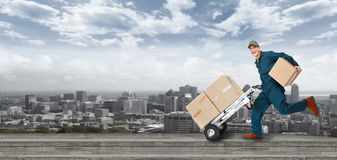 Running Delivery postman. Stock Images