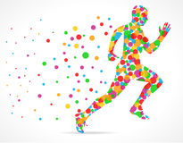 Running man with color circles, sports man running Stock Photo