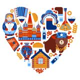 Russia travel heart set Royalty Free Stock Photography