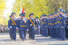 Russian officers at the parade on the occasion of the Victory Day celebrations on May 9 Royalty Free Stock Images