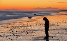 Sad boy sunset Royalty Free Stock Image