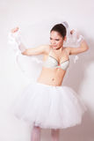 Sad bride in a skirt, underwear and veil Royalty Free Stock Images
