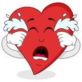 Sad Crying Red Heart Cartoon Character Stock Photos