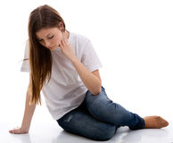 Sad depressed teen girl Stock Photos