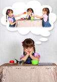 Sad little girl dreaming, loneliness concept Stock Photo