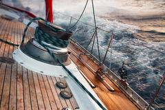 Sail boat under the storm Stock Image