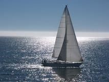 Sailboat gliding on calm sea Royalty Free Stock Image