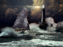Sailboat under storm Stock Photography