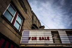 'For Sale sign on the old movie theater in Hanover, Pennsylvania . Royalty Free Stock Image