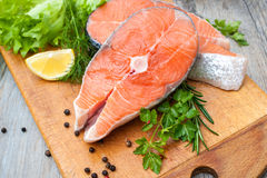 Salmon fish steaks Stock Images