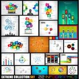 Sammlung von 22 Infographics für Social Media und Wolken Lizenzfreies Stockfoto
