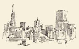 San Francisco, big city architecture, vintage engraved illustration, hand drawn, sketch,  Stock Photo