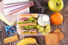 Sandwich school lunch Stock Images