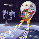 Santa Claus in the night. Royalty Free Stock Image