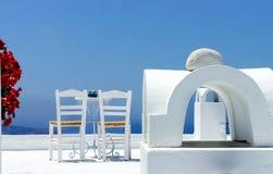 Santorini cosy terrace Royalty Free Stock Image