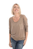 Satisfied attractive middle aged isolated smiling blond woman. Stock Photography