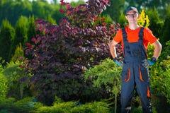 Satisfied Pro Gardener Royalty Free Stock Photography