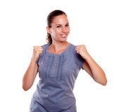 Satisfied young woman with a positive attitude Royalty Free Stock Photo