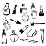 Satz der von Hand gezeichneten Illustration des weiblichen Kosmetikentwurfs Stockbilder