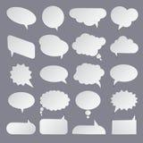 Satz flache weiße Blasen für Rede Stockbild