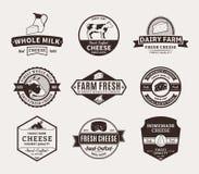 Satz Vektor-Käse-Aufkleber, Ikonen und Gestaltungselemente Lizenzfreie Stockfotos