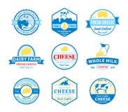 Satz Vektor-Käse-Aufkleber, Ikonen und Gestaltungselemente Stockbilder