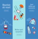 Satz Wintersportfahnen Lizenzfreie Stockfotografie