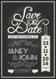 Save the date card template design with typography Royalty Free Stock Photos