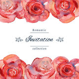 Save the date or wedding invitation template with roses. Royalty Free Stock Images