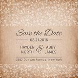 Save the date wedding invitation template. vintage paper texture.. vector illustration Stock Images