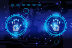 Scan hand print technology . Royalty Free Stock Photography