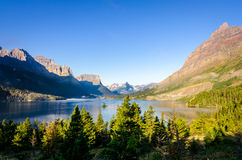Scenic view of mountain range in Glacier NP, Montana Stock Images