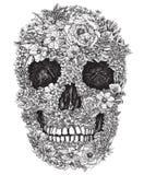Schedel uit Bloemen Vectorillustratie die wordt gemaakt Stock Afbeelding