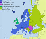 Schengen area and surroundings Royalty Free Stock Photography