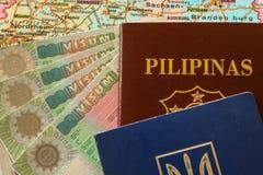 Schengen VISA with philippine / ukraine passport  Royalty Free Stock Photography