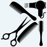 Scheren, Kamm für Haar und Trockner Stockbilder
