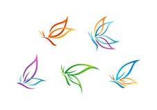 Schmetterlingslogo, Schönheit, Badekurort, Lebensstilsorgfalt, entspannen sich, Yoga, die abstrakten Flügel, die vom Symbolikonen Lizenzfreie Stockfotografie