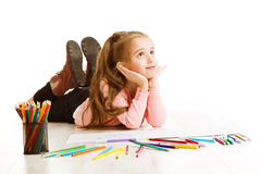 School Kid Thinking, Education Inspiration, Child Girl Dreaming Royalty Free Stock Photography