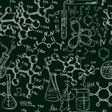 Science old chemistry laboratory seamless pattern. Vintage vector background sketchy style Stock Photography