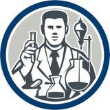 Scientist Lab Researcher Chemist Retro Circle Stock Images